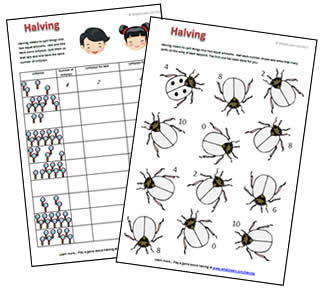 Halving to 10 - FREE printable worksheet and game | What2Learn